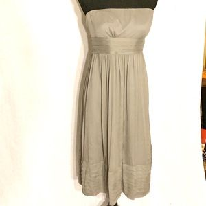 J. Crew 100% Silk Gray Strapless Dress Size 8